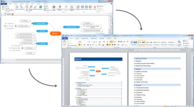 MindView�s mind mapping software export and Microsoft Office Integration