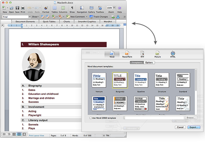 MindView 5 Mac Edition, Universal OS X, Export, Microsoft Word, linear outline, brainstorm, mind mapping