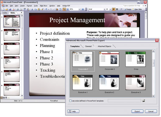 Mind Mapping software, Microsoft PowerPoint export