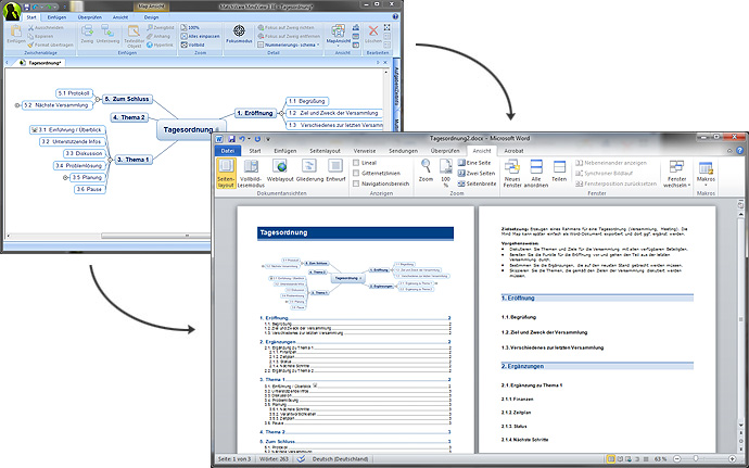 Export zu Microsoft Word aus MindView