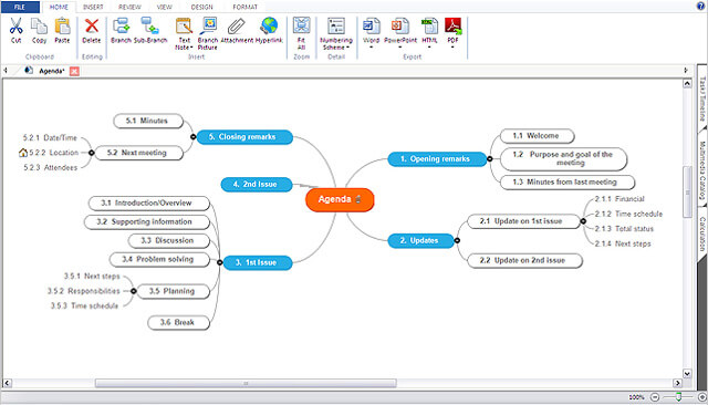 Screenshot of MatchWare's MindView Mind Mapping Software