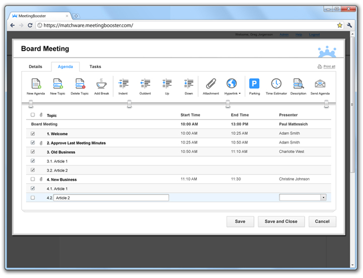 Educational Meeting Management Software MatchWare MeetingBooster – How to Create a Agenda