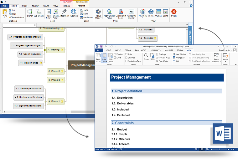 MindView mind mapping software with Microsoft Office export