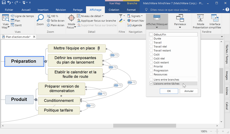 Show Dependencies in the Mind Map View