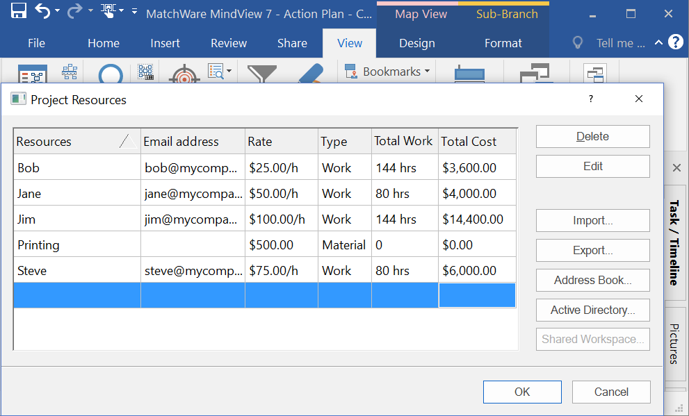 Show Total Amount of Work & Cost for a Task Resource
