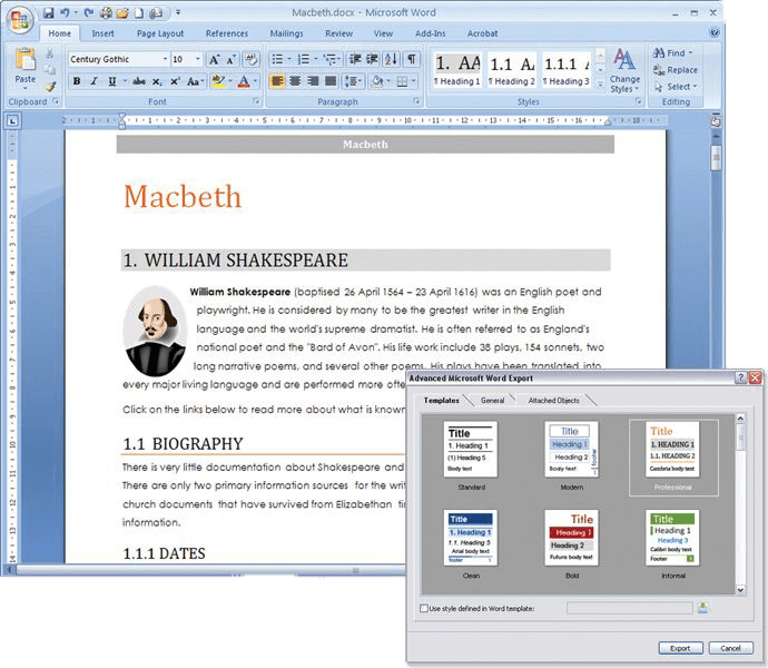 mind map and word export matchware mindview