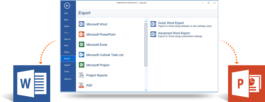 export to word and powerpoint