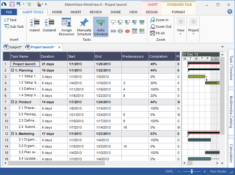 Gantt Chart Template  Mindview Gantt Chart Software