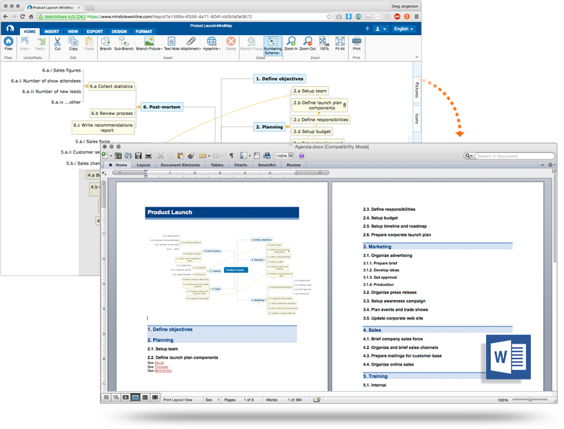 Microsoft Office Integration for Mind Mapping